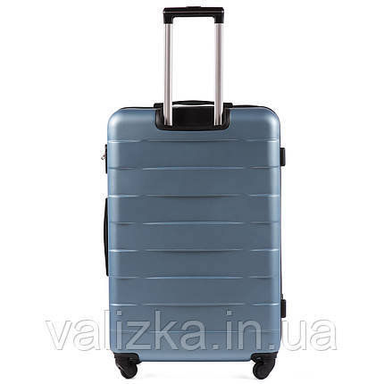 Большой пластиковый чемодан Wings 401 на 4-х колесах сильвер блу, фото 2