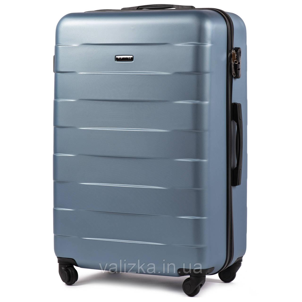 Большой пластиковый чемодан Wings 401 на 4-х колесах сильвер блу