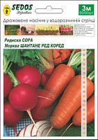 Морковь Шантане Ред Коред + Редис Сора 50/50 семян
