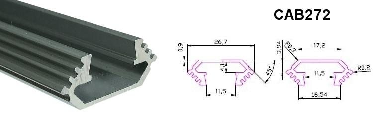 Алюмінієвий кутовий профіль для світлодіодних стрічок CAB272 4398