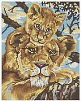 Схема для вышивки бисером Львенок и мама