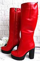 Кожаные красные сапоги на платформе, фото 1