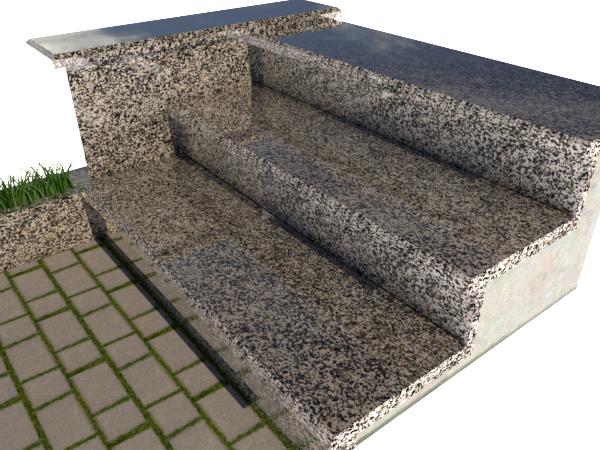 Ступени гранитные  полированные Покостовские  1200*300*30