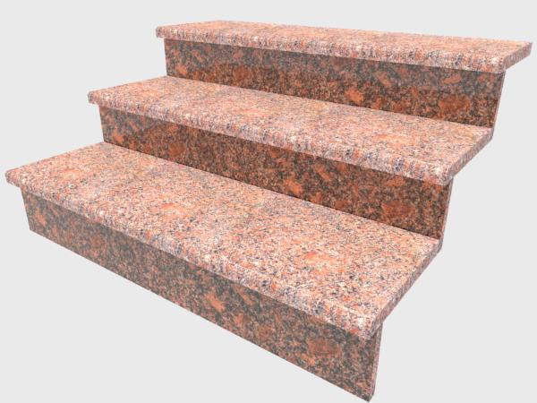 Ступени гранитные  термообработанные  Новоданиловские  1000×250×30