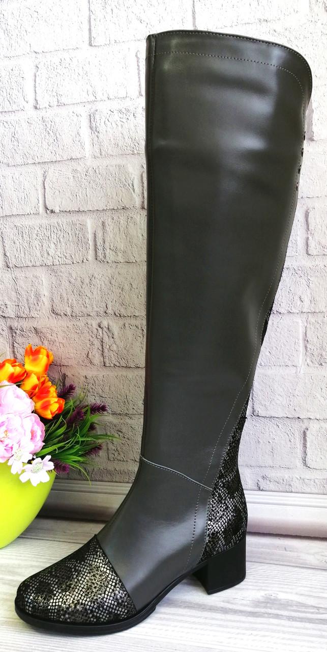 Сірі шкіряні ботфорти від виробника
