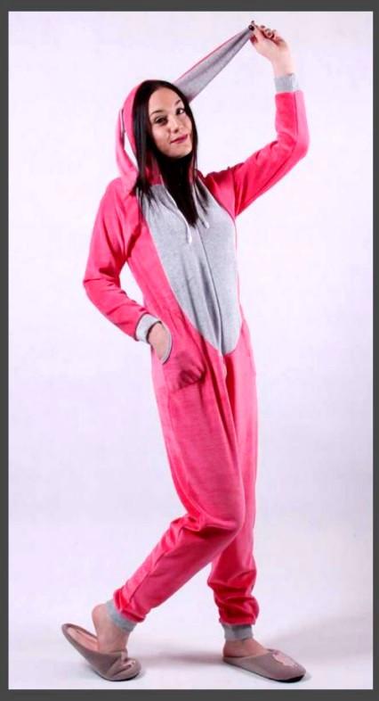 Детская пижама кигуруми для девочки розового цвета Зайка 126-150 р, детские пижамы оптом от производителя