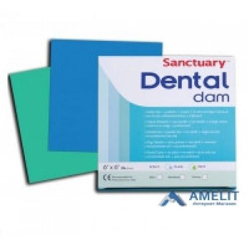 Хустки для коффердаму Dental Dams (Sanctuary), зелені, 36шт./упак.