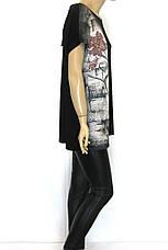 Жіноча чорна футболка з принтом великий розмір, фото 2
