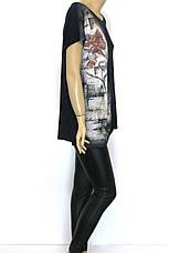 Жіноча чорна футболка з принтом великий розмір, фото 3