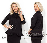 Котоновая однотонная блуза свободного кроя с рукавами 3/4 и воланом на подоле 12045