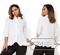 Котоновая однотонная блуза свободного кроя с рукавами 3/4 и воланом на подоле X9966