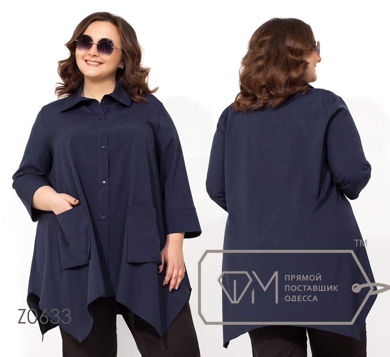 Рубашка-вестерн расклешённая из вискозы с накладными карманами, асимметричным подолом и воротом-стойкой Z0633