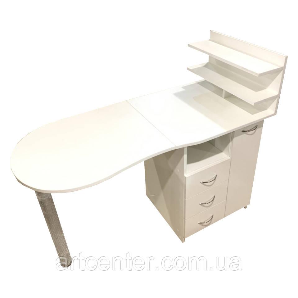 Стіл для манікюру з ящиком карго і вітриною для лаків, білий манікюрний стіл
