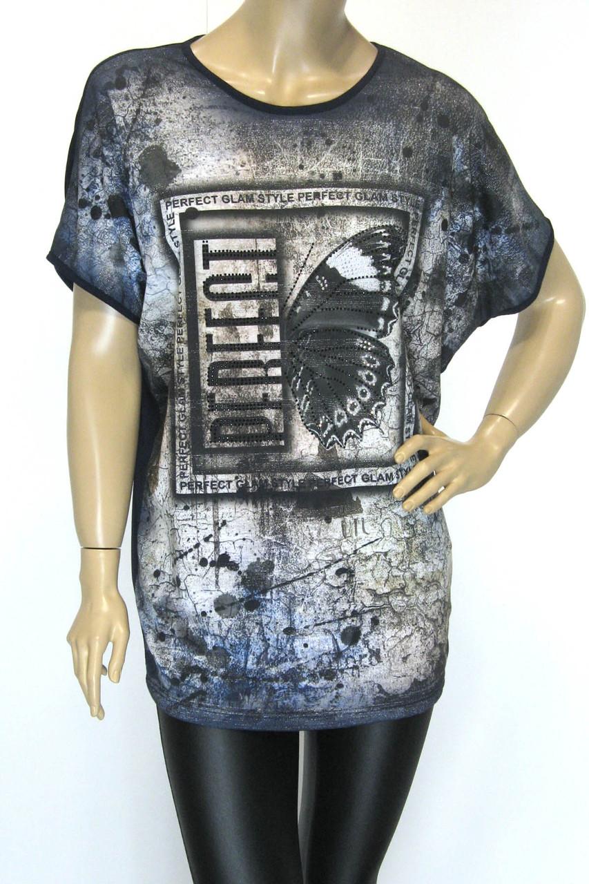 Женская футболка больших размеров с принтом