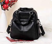 0618 Сумка - рюкзак женская высококачественная эко кожа черная