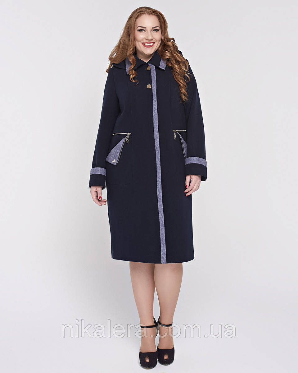 Женское двухцветное пальто с капюшоном,большие размеры 52-64