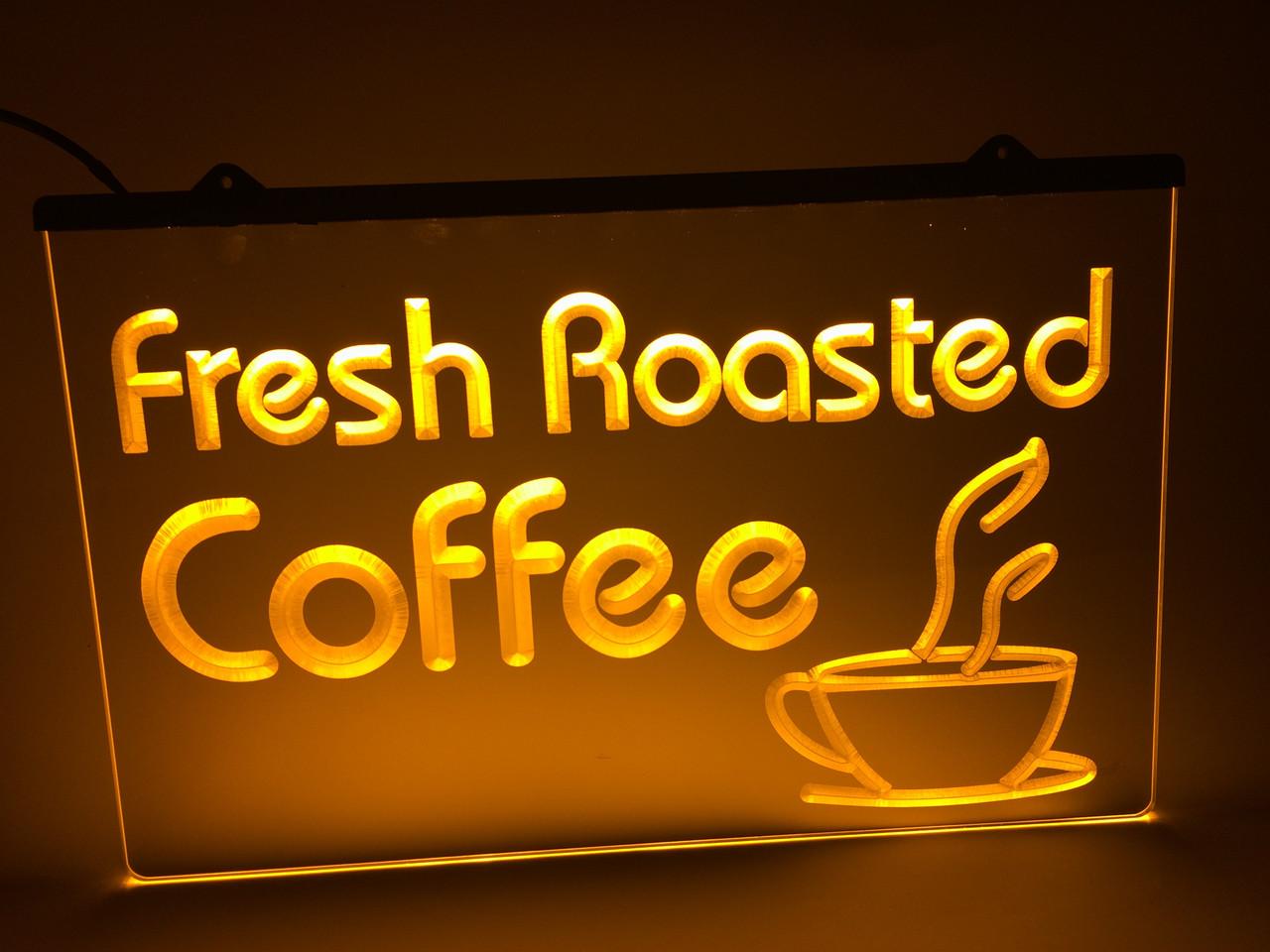 Светодиодная Лед вывеска Свежая обжарка кофе (Fresh Roasted Coffe) Желтая