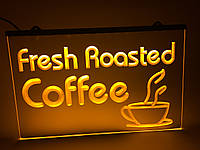 Світлодіодна Лід вивіска Свіжа обжарювання кави (Fresh Roasted Coffe) Жовта