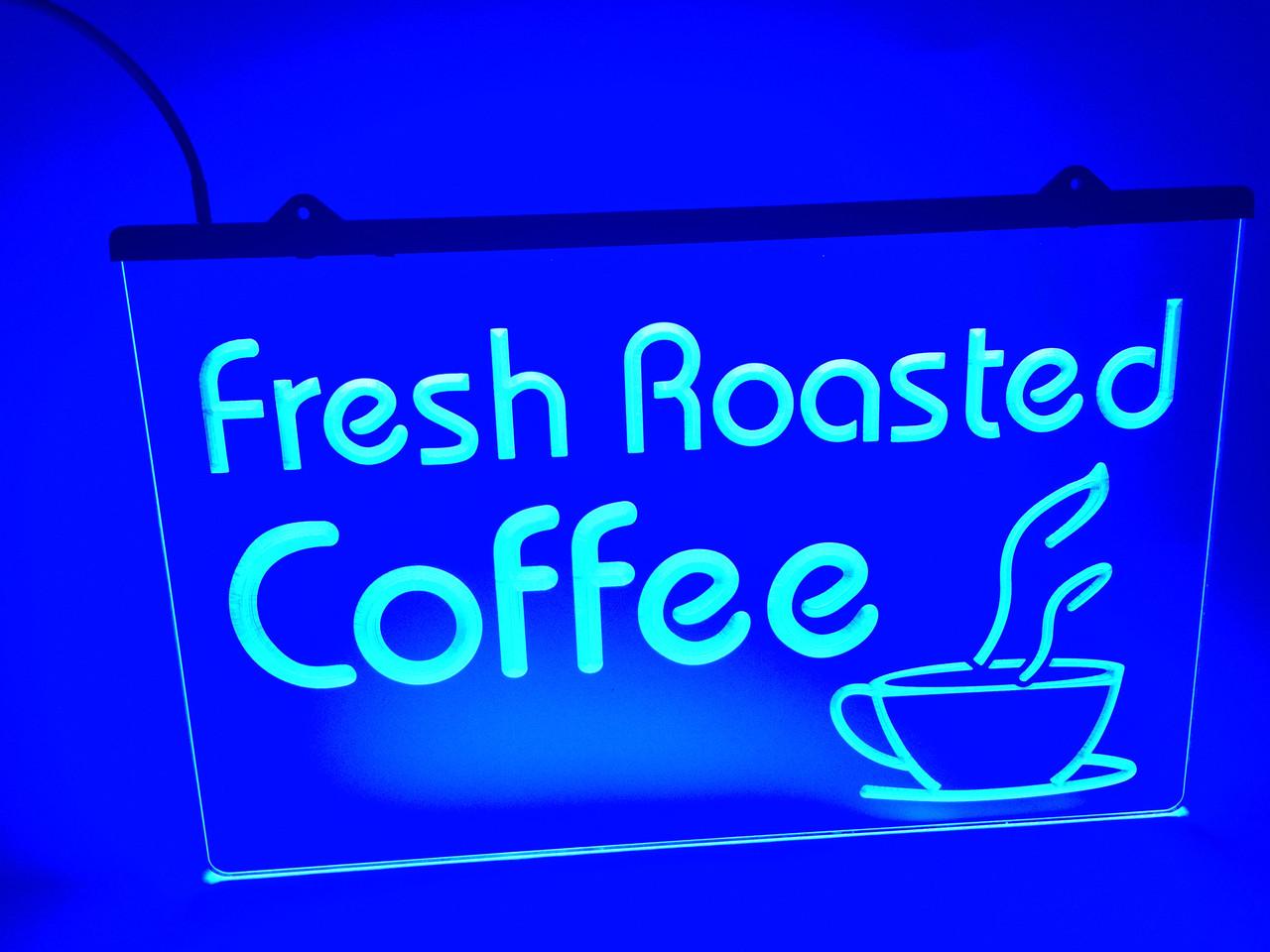 Светодиодная Лед табличка Свежая обжарка кофе (Fresh Roasted Coffe) Синяя