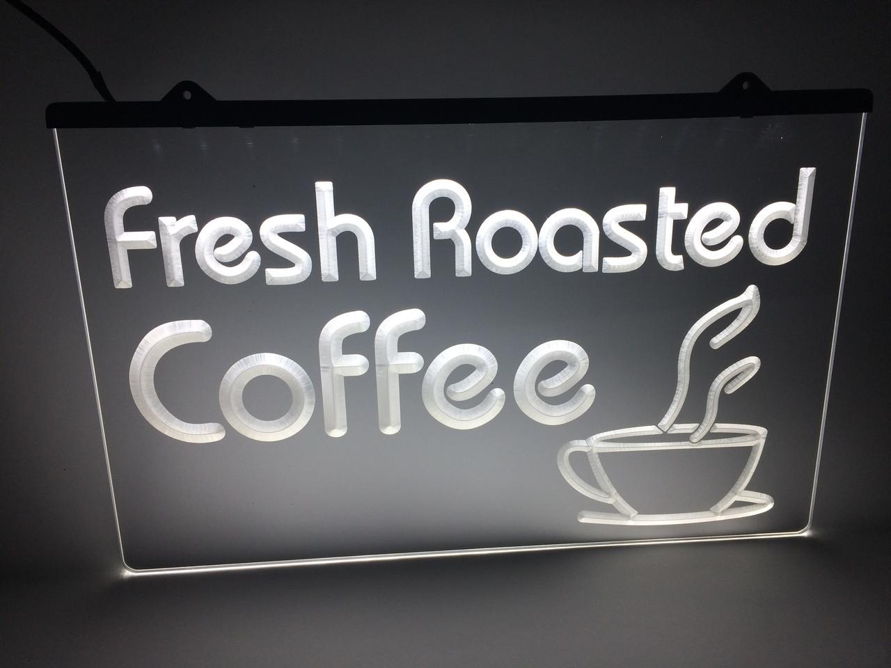 Светодиодная LED табличка Свежая обжарка кофе (Fresh Roasted Coffe) Белая