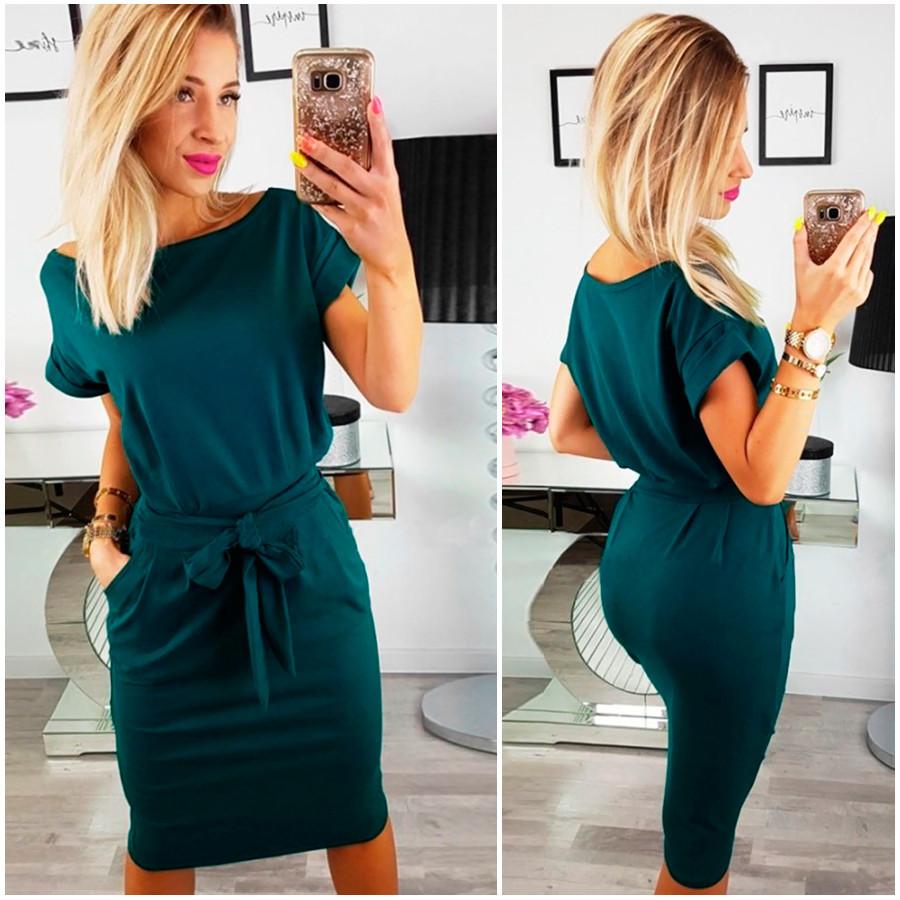 Платье трикотажное летнее с короткими рукавами миди 44