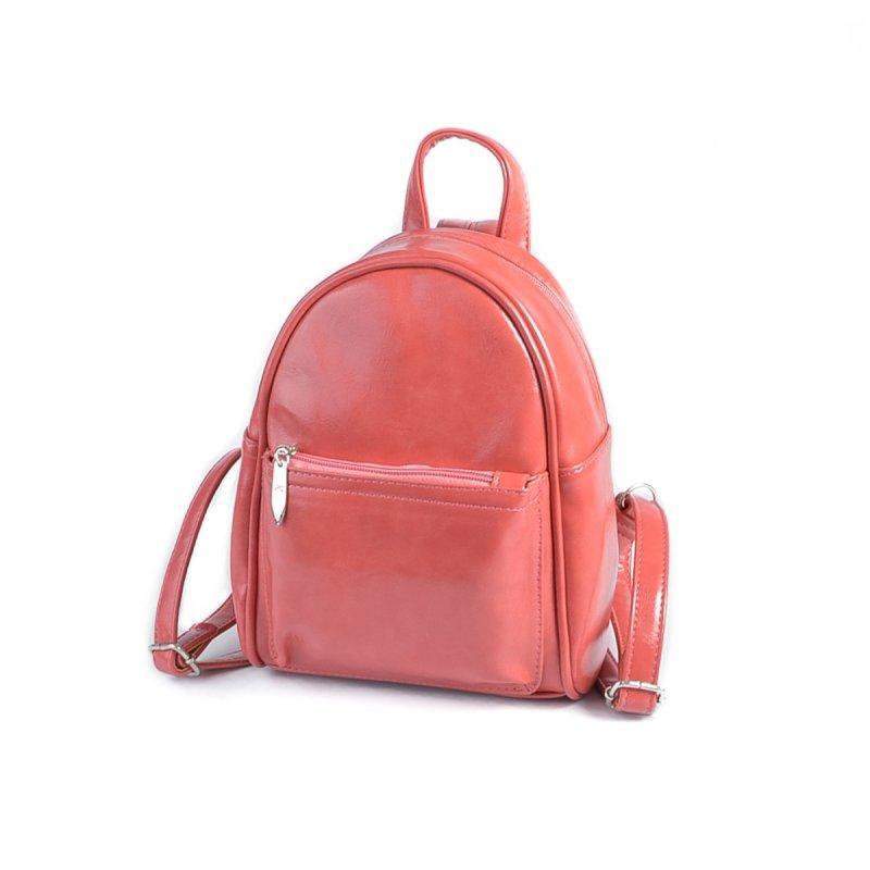 Кораловий жіночий рюкзак маленький міні міський на блискавці