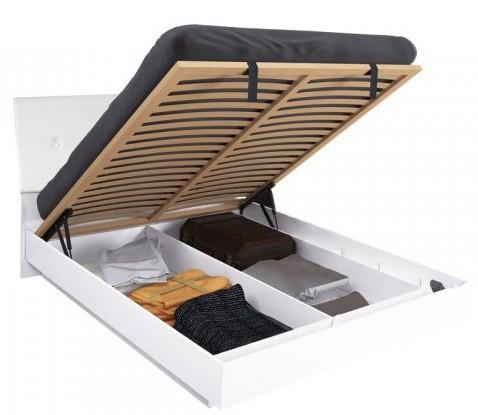Кровать Рома 180*200 c каркасoм и подъемным механизмом  глянец белый ТМ Миро Марк