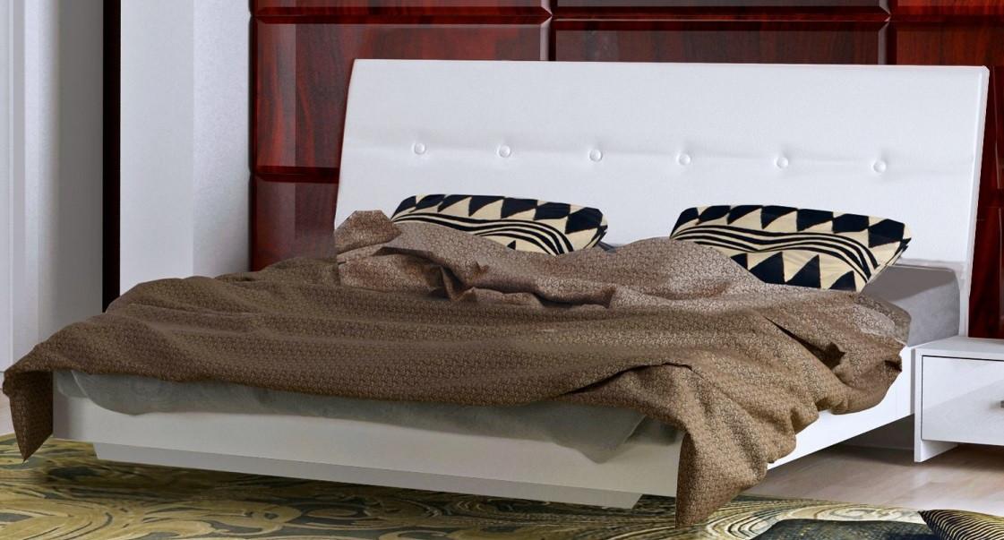 Кровать Рома 160*200 без каркаса с мягкой спинкой глянец белый ТМ Миро Марк