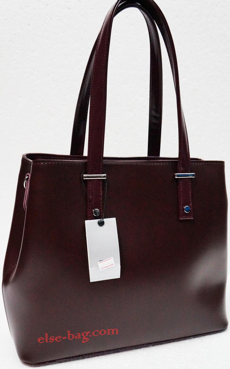 Вишневая женская сумка на два отдела