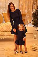 Замшевое платье для девочки в стиле Фэмили лук для мамы и дочки, фото 1