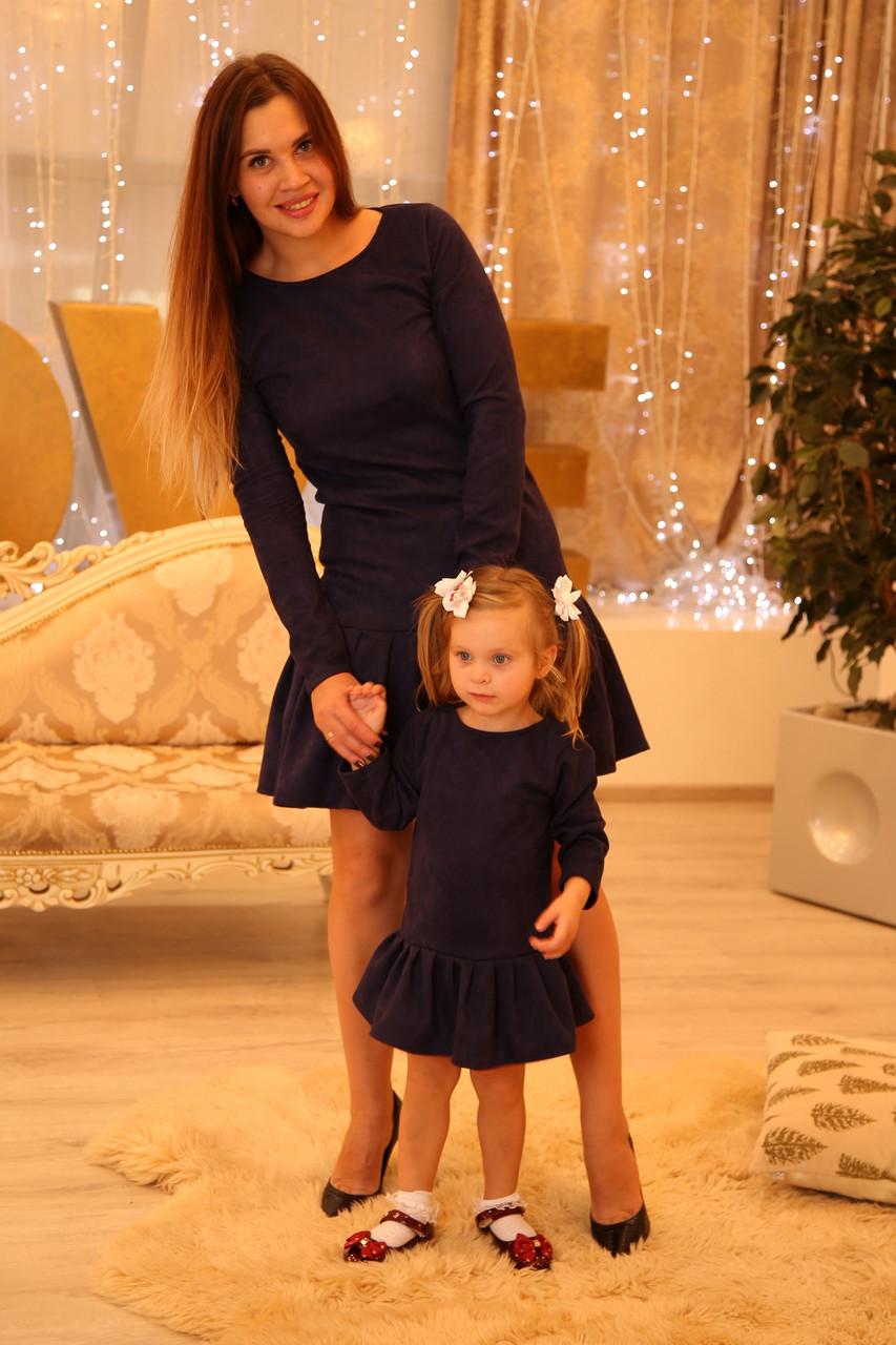 Замшевое платье для девочки в стиле Фэмили лук для мамы и дочки