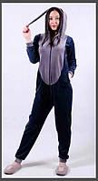 Пижама кигуруми для девочки темно-синего цвета Зайка 126-150 р, детские пижамы оптом от производителя