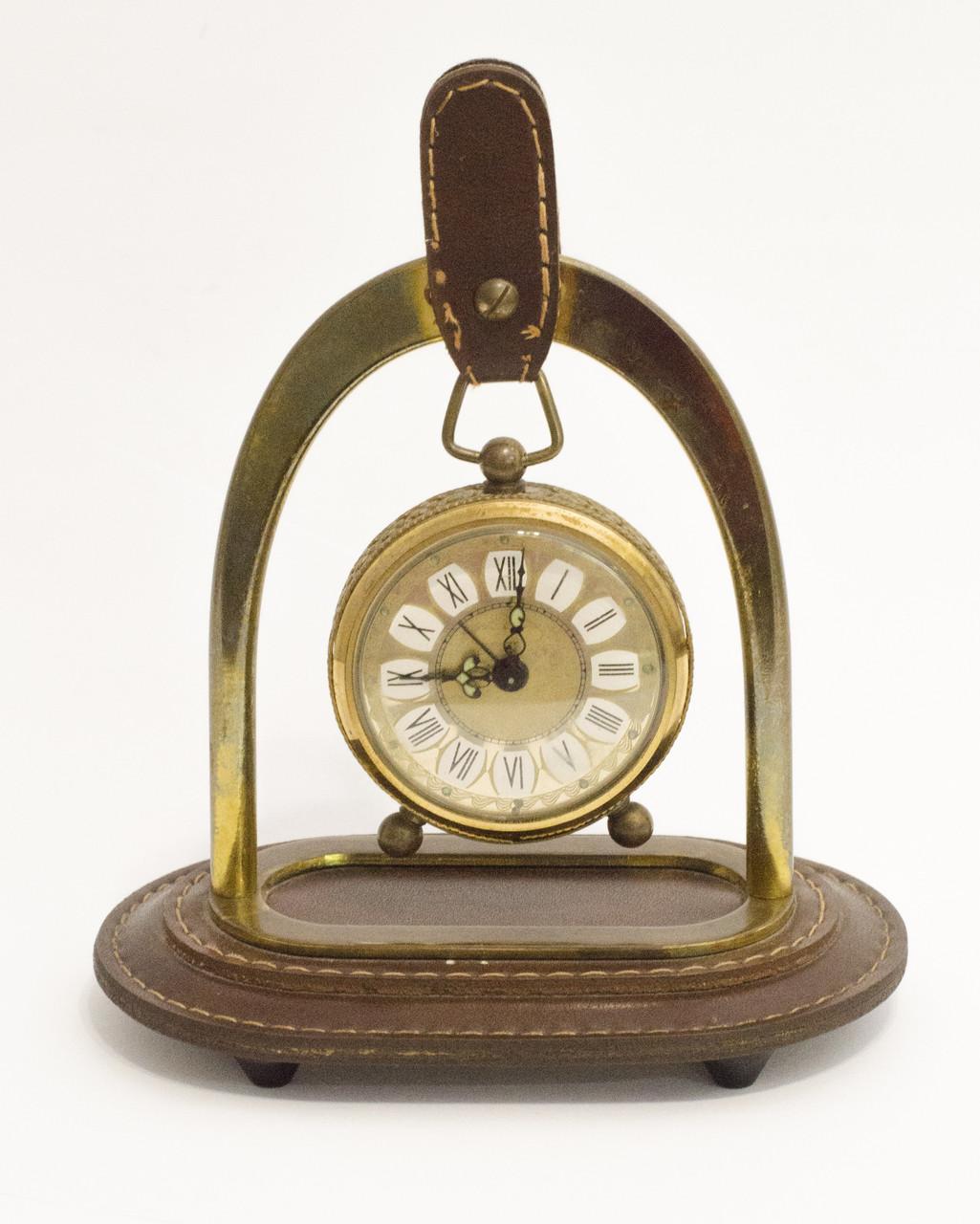 Старые часы в бронзовом корпусе, будильник на подставке, бронза, латунь, Германия