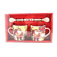 Подарочный Набор из 2-х Чашек и Ложек Merry Christmas