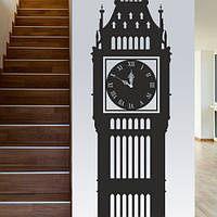 Виниловые наклейки Биг-Бен интерьерная наклейка (английские часы оракал) матовая 250х1600 мм, фото 1
