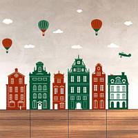 Виниловые наклейки Городок Интерьерная наклейка датские домики большая декоративная на стену матовая 1790х1350 мм, фото 1