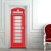 Телефонная будка Виниловая наклейка на дверь (английские наклейки самоклеющиеся)