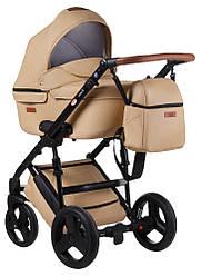 Детская коляска универсальная 2в1 Bair Leo 100% кожа GN-44 беж (Беир Лео)