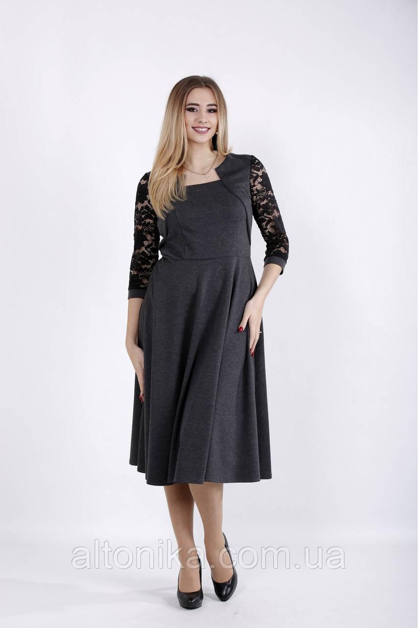 Платье с гипюром на рукавах | 42-74
