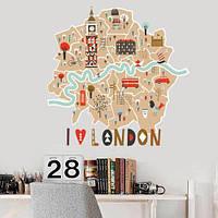 Лондон Карта наклейка виниловая интерьерная (самоклеющаяся полноцветная Темза) матовая 700х680 мм, фото 1