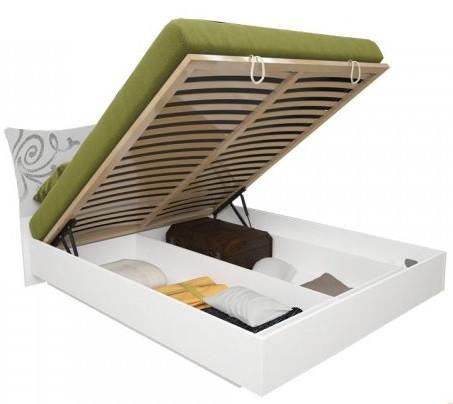 Кровать Богема 180*200 c каркасoм и подъемным механизмом глянец белый ТМ Миро Марк
