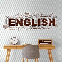Наклейка надпись English Интерьерная текстовая (английские буквы слова символы) матовая 1100х390 мм, фото 1