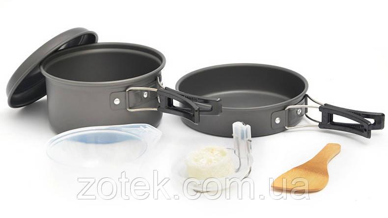 Набір посуду DS-200 на 1-2 чоловік, з анодованого алюмінію, комплект туристичний кемпінг похідний