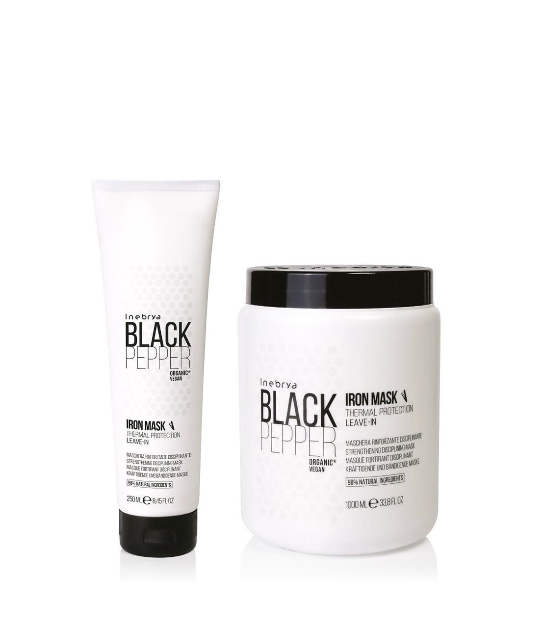 Укрепляющая несмываемая маска для непослушных волос Inebrya Black Pepper Iron Mask