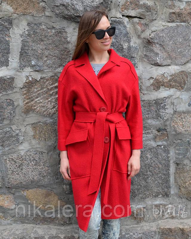 Легкое пальто из вареной шерсти без подкладки рр 42-50