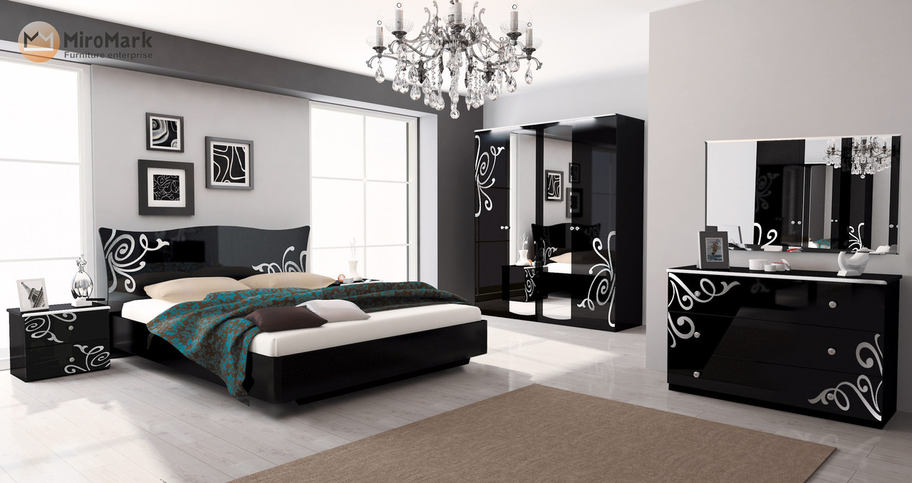 Кровать Bogema 180*200 без каркаса глянец черный ТМ Миро Марк, фото 5