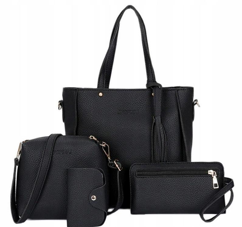 Трендовая женская сумка JingPin 4 в 1 цвет Чёрный (сумка + клатч + кошелёк косметичка + визитница) 01062