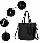 Трендовая женская сумка JingPin 4 в 1 цвет Чёрный (сумка + клатч + кошелёк косметичка + визитница) 01062, фото 3