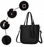 Трендова жіноча сумка JingPin 4 в 1 колір Чорний (сумка + клач +гаманець, косметичка+візитниця) AB-2, фото 3