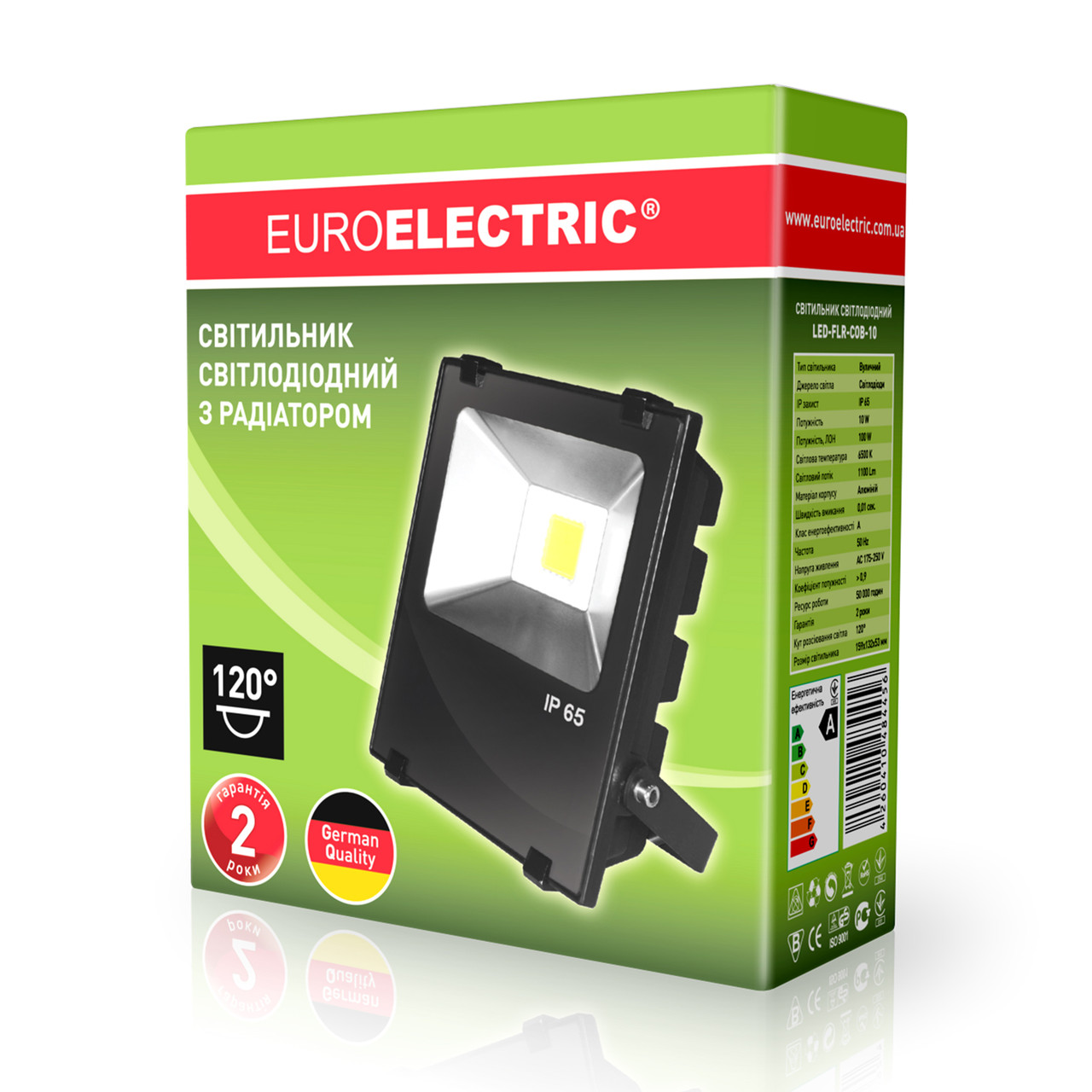 EUROELECTRIC LED Прожектор COB чёрний 10W 6500K classic